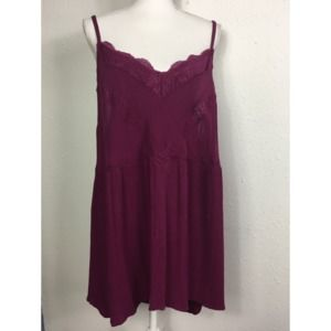 Torrid 3 Maroon Lace Accent Gauzy Stretch Cami Top